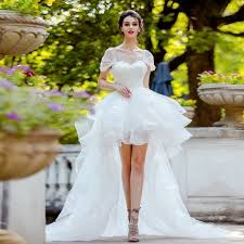 wedding dresses high high low wedding dress white lace princess bridal dress