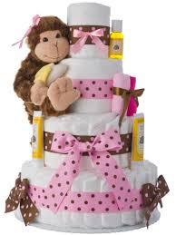 monkey 4 tier diaper cake pink baby shower diaper cakes unique