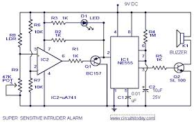 sensitive intruder alarm circuit diagram using 555 ic and 741 ic