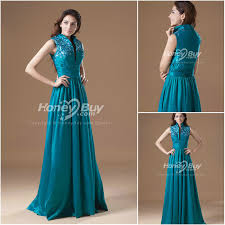 dress for wedding reception stand up collar floor length teal wedding reception dress