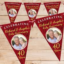 personalised ruby 40th wedding anniversary celebration photo flag