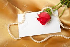 Blank Invitation Cards Red Rose And Blank Invitation Card On Golden Satin Stock Photo