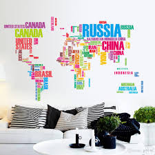 World Map Wall Poster by Pvc Color Letters World Map Wall Stickers Removable Art Decals