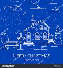 real estate new years cards winter christmas new year city suburb stock vector 523296475