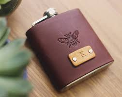 custom leather flask handmade personalized gift for your