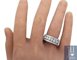 10mm diamond 14k white gold mens bezel 3d diamond wedding band 10mm 3 ct ring