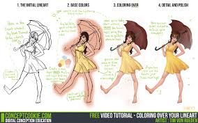tutorial coloring over your lineart by cgcookie on deviantart