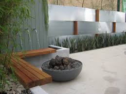 widescreen house garden design water fountain and small fish pond
