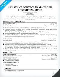 e resume exles portfolio resume sle assistant portfolio manager resume sle e