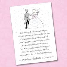 wedding gift of money 5 x wedding poem cards for invitations money gift honeymoon