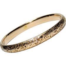 solid bracelet images Antique 14k solid gold bangle bracelet repousse edwardian jpg