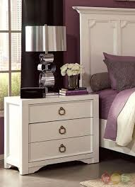 white 3 drawer nightstand with two usb ports