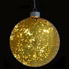 13cm xmas hanging glass ball with warm white led lights