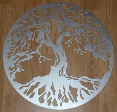 fresh design tree of wall decor with metal silver look