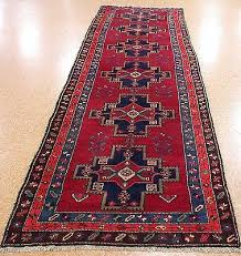 Blue Runner Rug 4 X 13 Persian Meshkin Tribal Hand Knotted Wool Red Blue Runner