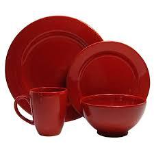 dining room waeshterbach fun factory red stoneware dinnerware set