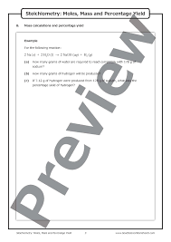 stoichiometry moles mass and percentage yield u2013 worksheet good