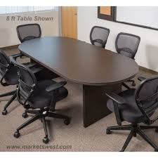 8 Foot Desk by 6 Foot X 3 Foot Racetrack Conference Table Espresso