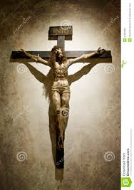 crucified jesus christ with a crown gothic cross stock photo