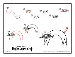 how to draw a cat for kids how to draw a halloween cat for kids