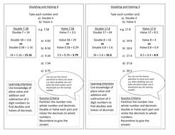 year 5 doubling and halving worksheet numeracy block a