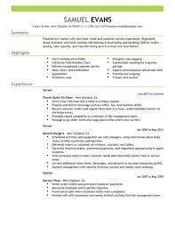 My Resume Template Food Server Resume 21 Objective For Service Waitress Customer