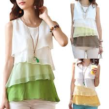 green womens blouse s5q s chiffon tops sleeveless casual