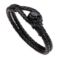 black bracelet women images Double layer skull bracelet leather bracelet men 39 s bracelet jpg