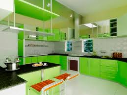 wonderful curved cherry wood kitchen cabinets in lime green