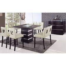 Dining Room Table Counter Height G072 Counter Height Dining Room Set W Beige Chairs Global