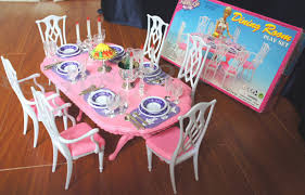 barbie dining room gloria dollhouse furniture 6 chairs dining room w spoons playset