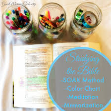 studying the bible using the soak method coloring chart and