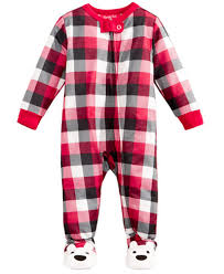 family pajamas baby boys or baby buffalo plaid footed