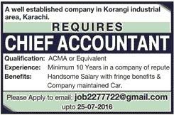 chief accountant chief accountant job vacancy available at a well established
