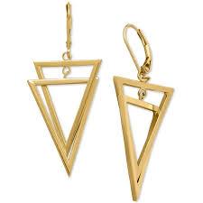 14 karat gold earrings interlocking triangle dangling drop earrings in 14k gold 800