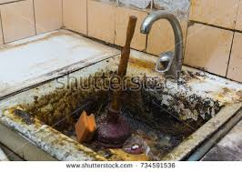 clogged sink old clogged sink rust old kitchen stock photo 734591536 shutterstock