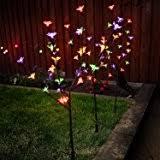 3 x multi colour stylish ornamental branch tree leaf solar outdoor