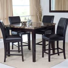 dining room table height dining room square black counter height table set tempered glass