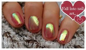 diy mermaid nails mirror glitter powder chrome nails trend