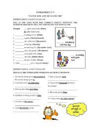 Subject Pronouns Worksheet Subject And Object Pronouns Worksheet