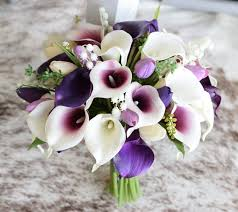 of the valley bouquet purple fillers silk wedding bouquet real touch tulips and lilies