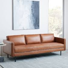 Living Room With Brown Leather Sofa Axel Leather Sofa 89 West Elm