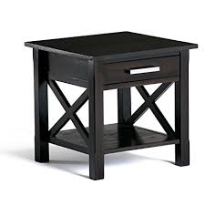 dark walnut end table amazon com simpli home kitchener solid wood end table dark walnut