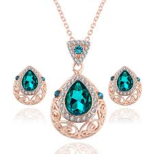 green gem necklace images Austrian crystal green gem jewelry set shopzexy jpg