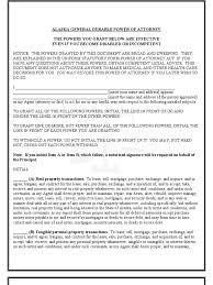 Alaska Power Of Attorney Form alaska general durable poa for property and finances immediate