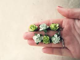 flower hair pins hair pin set in olive mint green paper bobby pins