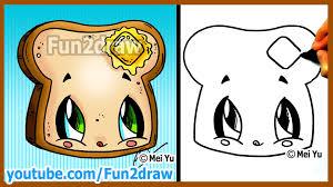 how to draw kawaii toast butter fun2draw drawing