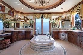 royal design luxury bathroom with crystal chandelier