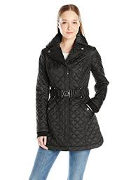 laundry by shelli segal laundry by shelli segal women s quilted jacket with belt at
