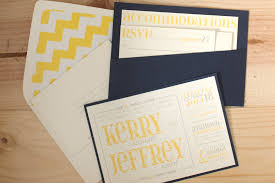 wedding invitations kerry kerry and jeff s wedding invitations yellow grey and navy